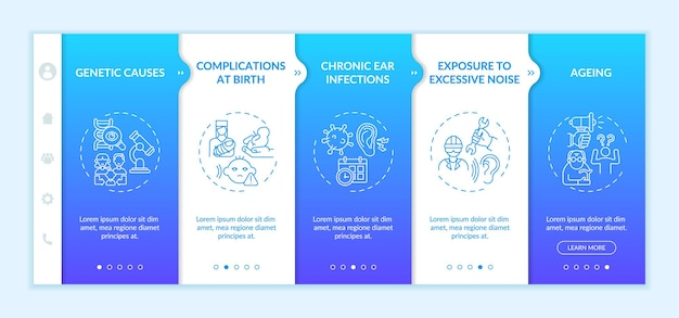 Hearing loss factors onboarding vector template. responsive mobile website with icons. web page walkthrough 5 step screens. complications, exposure to noise color concept with linear illustrations