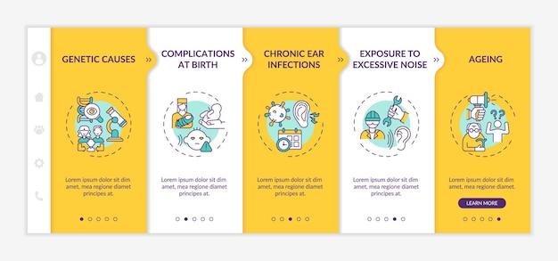 청력 손실 요인 온보딩 벡터 템플릿입니다. 아이콘이 있는 반응형 모바일 웹사이트입니다. 웹 페이지 연습 5단계 화면. 유전적 원인, 선형 삽화가 있는 만성 감염 색상 개념