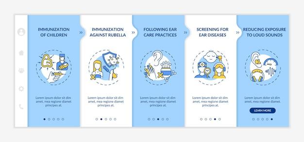 청력 손실 예방 조치 온보딩 벡터 템플릿입니다. 아이콘이 있는 반응형 모바일 웹사이트입니다. 웹 페이지 연습 5단계 화면. 선형 삽화가 있는 어린이 예방 접종 색상 개념