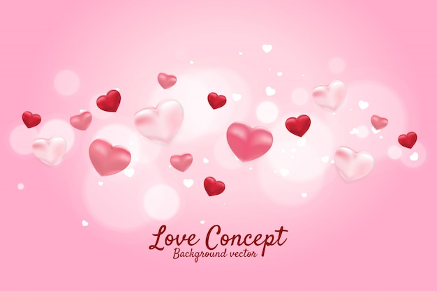 Heart 3d balloon flying graphic background concept. valentine's day and love theme banner and poster