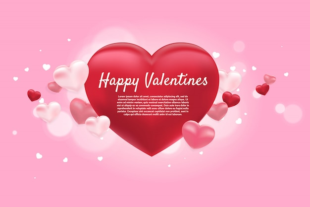 Heart 3d balloon graphic background concept. valentine's day and love theme banner