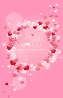 심장 3d 풍선 그래픽 원형 프레임입니다. 발렌타인 데이 사랑 테마 banner 및 포스터