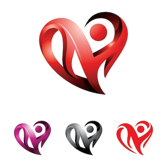Heart abstract 3d love logo illustration