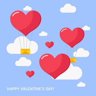 Heart  air balloon for happy valentine's day