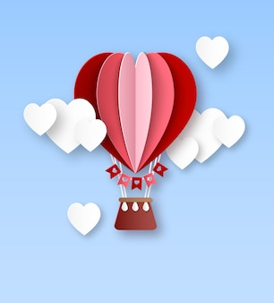 Heart air balloon. paper cut hot air balloon with white clouds in heart shape happy valentines day invitation card celebrate romantic concept