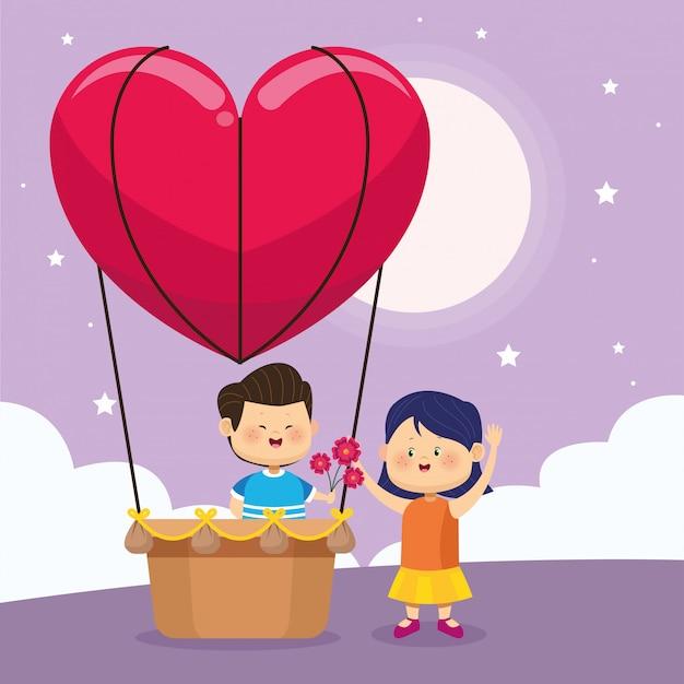 Сердце воздушный шар с милым мальчиком дарить цветы девушке