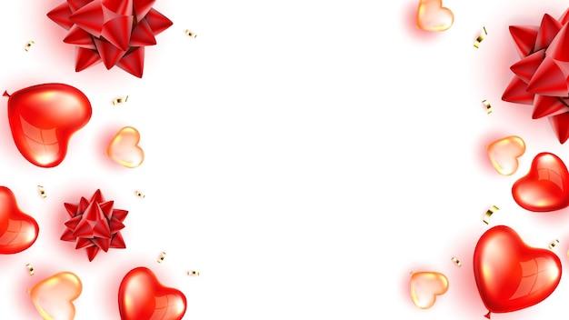 ハート気球と紙吹雪コピースペースベクトル。バレンタインデーを祝うためのハート型のフライングヘリウムインフレータブルデコレーションとホイルスパークリングストリーマー。テンプレートリアルな3dイラスト