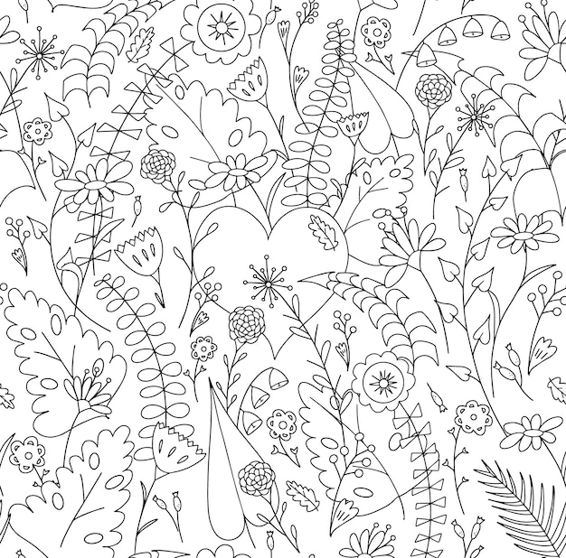 Heart among flowers folk seamless pattern for design prints or coloring book