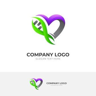 Сердце и логотип днк медицинский, красочный стиль