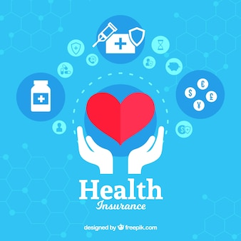 Heart and hands with health icons