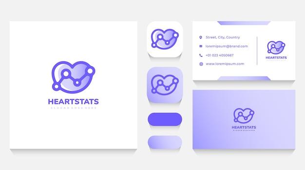 Шаблон логотипа статистики сердца и любви и визитная карточка