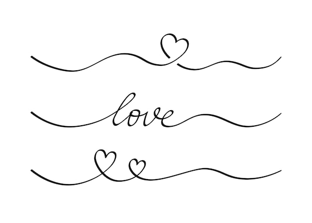 마음과 사랑 소용돌이 분배기. 손으로 그린 스케치 낙서 스타일. 라인 낙서 심장 스레드 벡터 일러스트 레이 션. 사랑과 결혼 개념입니다.
