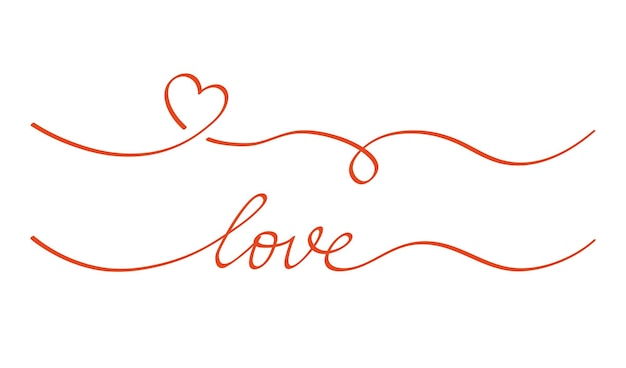 心と愛の渦巻き仕切り。手描きスケッチ落書きスタイル。ライン落書きハートスレッドベクトルイラスト。愛と結婚式のコンセプト。