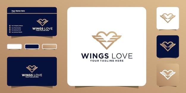 Сердце и крылья дизайн логотипа вдохновение с визитной карточкой