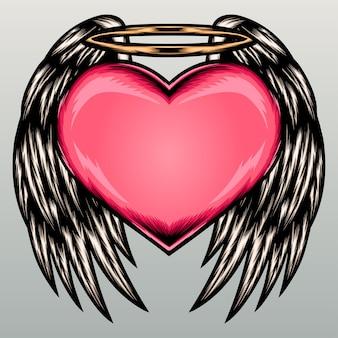 ハートの天使の羽のイラスト。