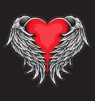 Heart angel wings