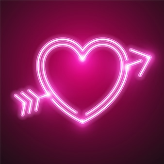 Heart and arrow neon design