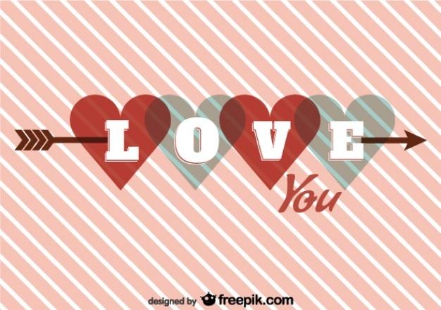 Heart on arrow retro card design for valentine's day