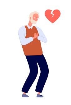 Острое сердечно-сосудистое заболевание. боль в груди у взрослого мужчины, у пожилого человека сердцебиение. заболевание сердца, пациент с нездоровым симптомом. изолированный векторный характер. боль в груди, сердечный приступ, медицинская больная иллюстрация