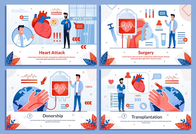 Heart attack cardiovascular diseases banner set