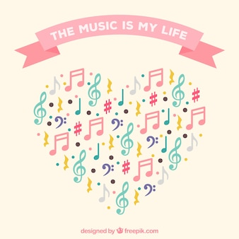 Heart background made of colorful musical notes