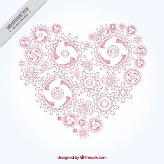 Heart background made of hand drawn gears