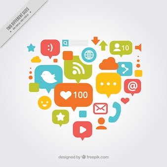 Heart background made of social networking icons