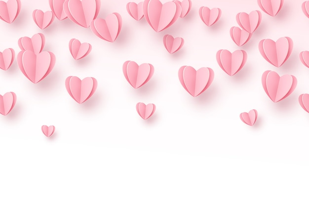 Heart background with light pink paper cut hearts.