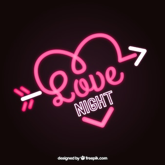 Heart background with neon arrow