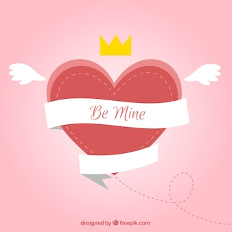 Сердце фон с крыльями и короной