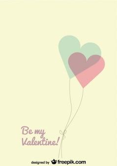 Palloncini cuore vettore carta retrò per san valentino