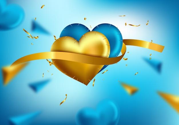 心のバルーンは、バレンタインデーのための光沢のあるアイコンを分離