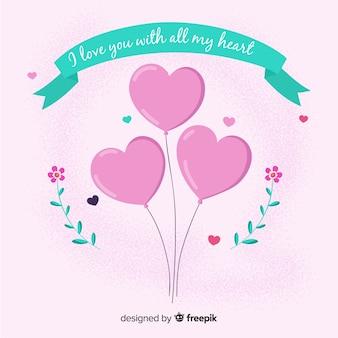 Heart balloons background
