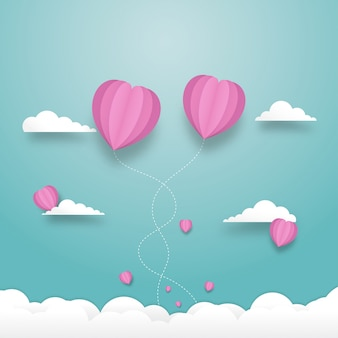 Heart balloons flying on the sky with cloudy