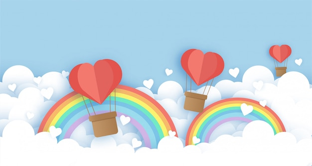 Heart balloons in the sky and rainbows in paper cut and craft style for valentine's illustration