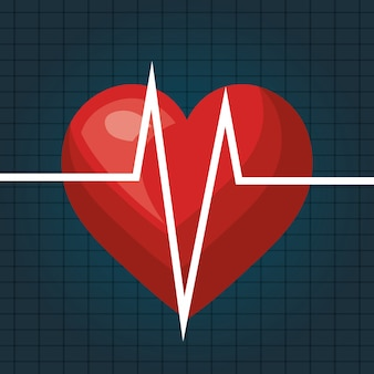Heart beat isolated icon design