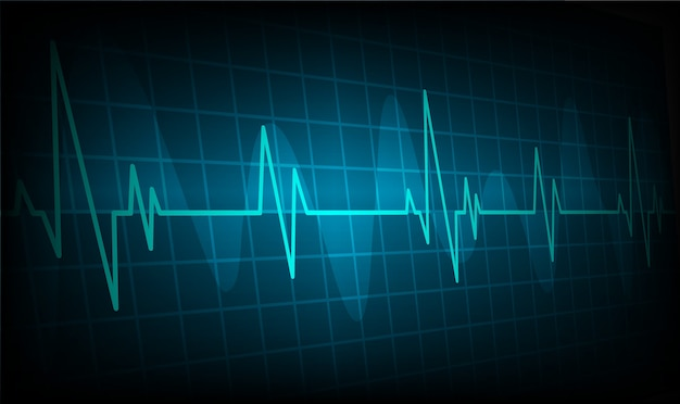 Heart beats cardiogram background, ekg wave
