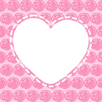 Heart blank frame with beautiful pink flowers, vector graphics