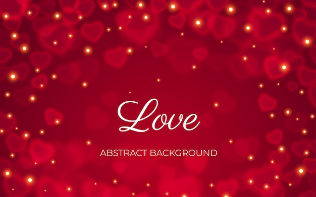 Heart bokeh red abstract background