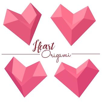 Heart box design 3d origami style vector illustration