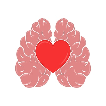 Heart and brain concept emotional quotient and intelligence icon and logo