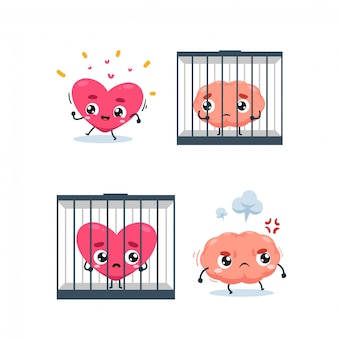 The heart, brain and the jail. isolated illustration