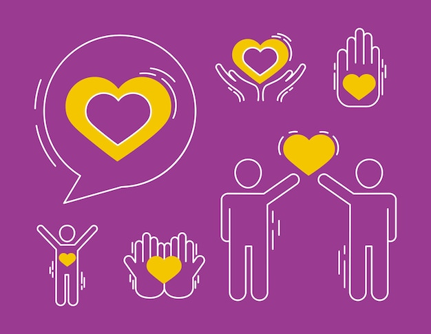 Heart bubble and care icons