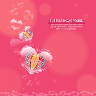 Heart bubbles background valentine day