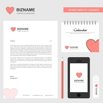 Heart business stationary