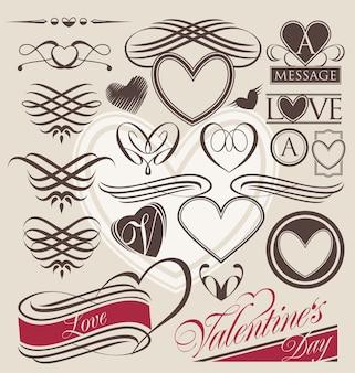バレンタインデーのためのハートカリグラフィーデザイン要素