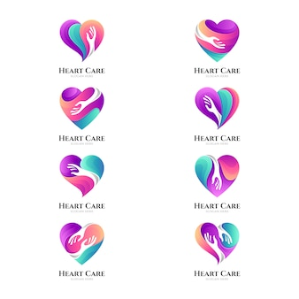 Heart care logo collection