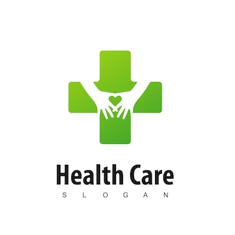 Heart care logo with silhouette hand in cross symbol