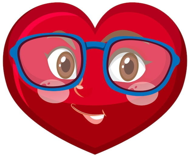 Heart cartoon character with facial expression