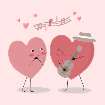 The heart cartoon playing guitar and singing for couple,  isolated cartoon cute romantic couples in love, valentine's concept, illustration